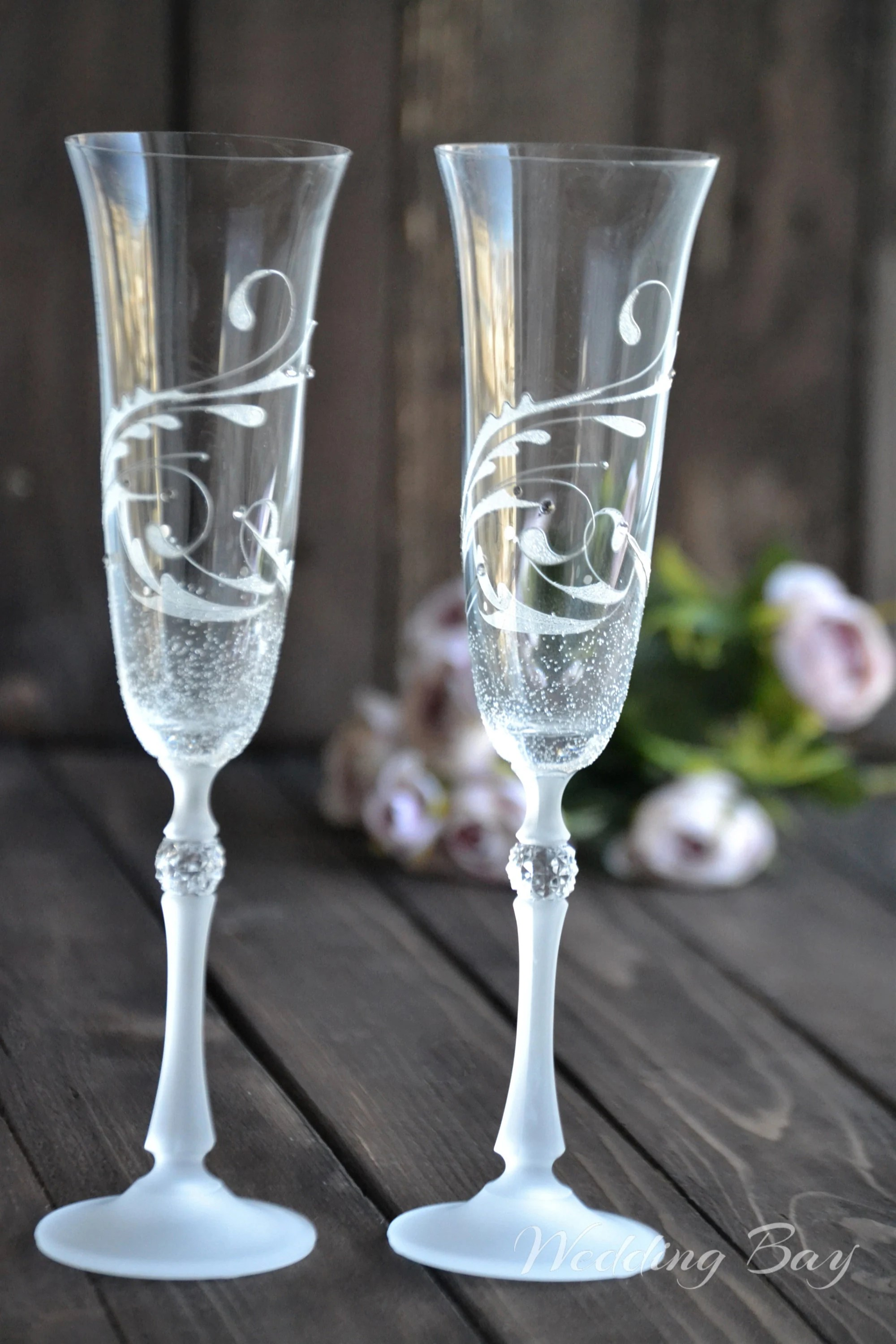 Flute A Champagne Original Champagne Flutes Handpainted Gift For Couples Wedding Glass Set Wedding Glasses For Bride And Groom Sektgläser Hochzeit Weddingabay