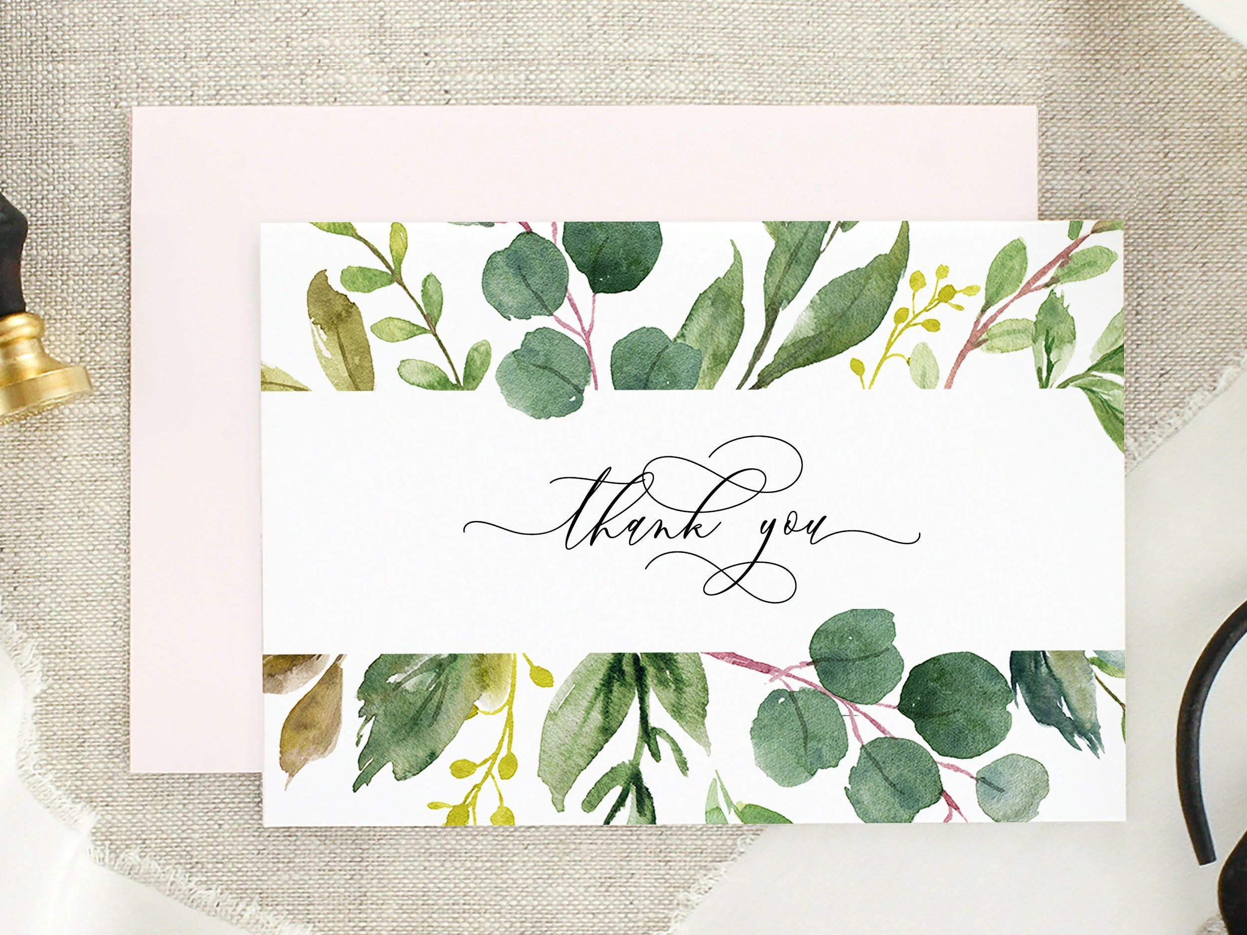 Thank You Card Bridal Shower Thank You Eucalyptus Wedding Etsy