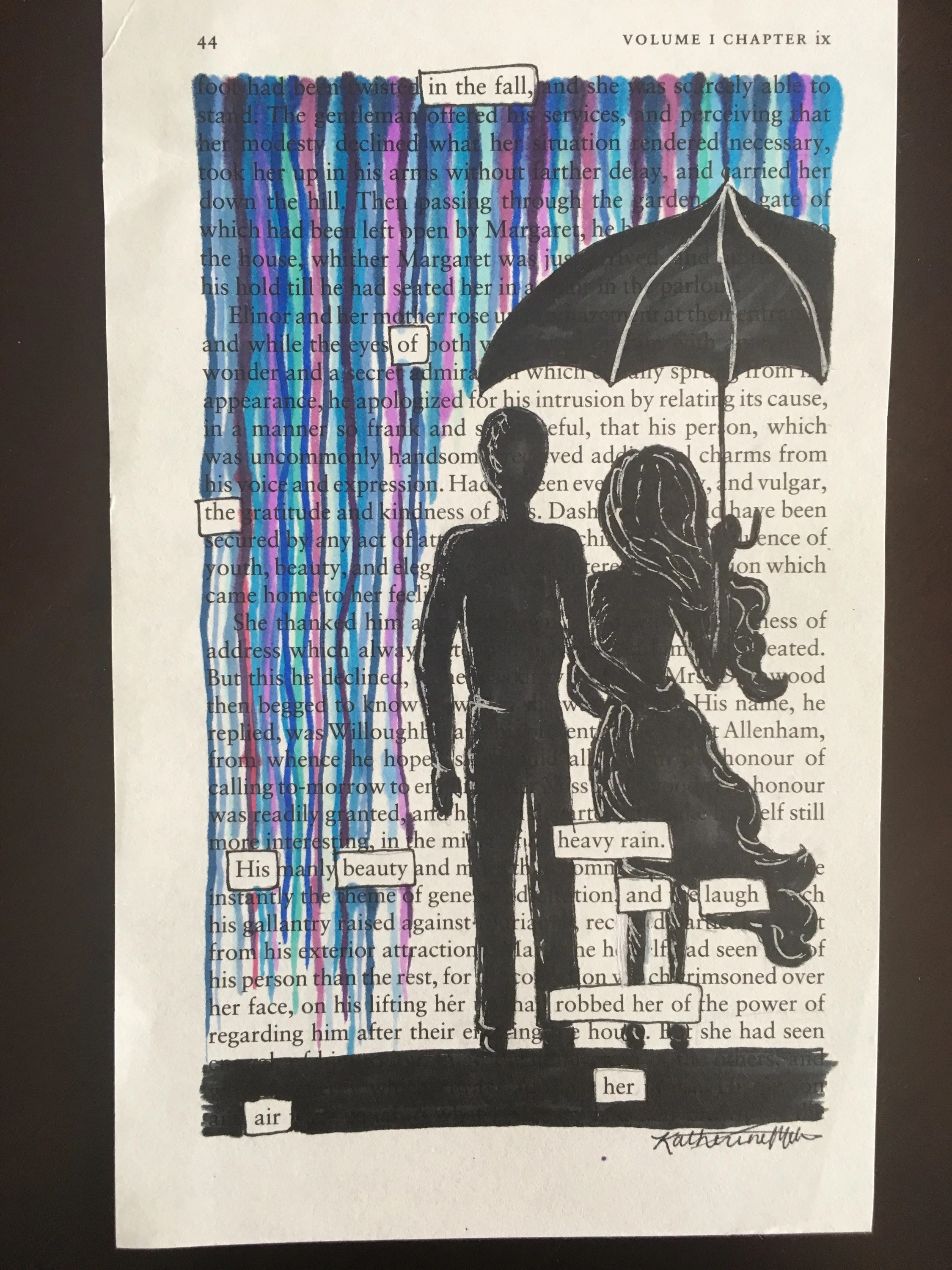 Cadeaupapier Opbergen The Rain Blackout Poetry Art Artwork Book Art Word Art Poem Quote Words Love Marriage Umbrella Happiness High Quality Print