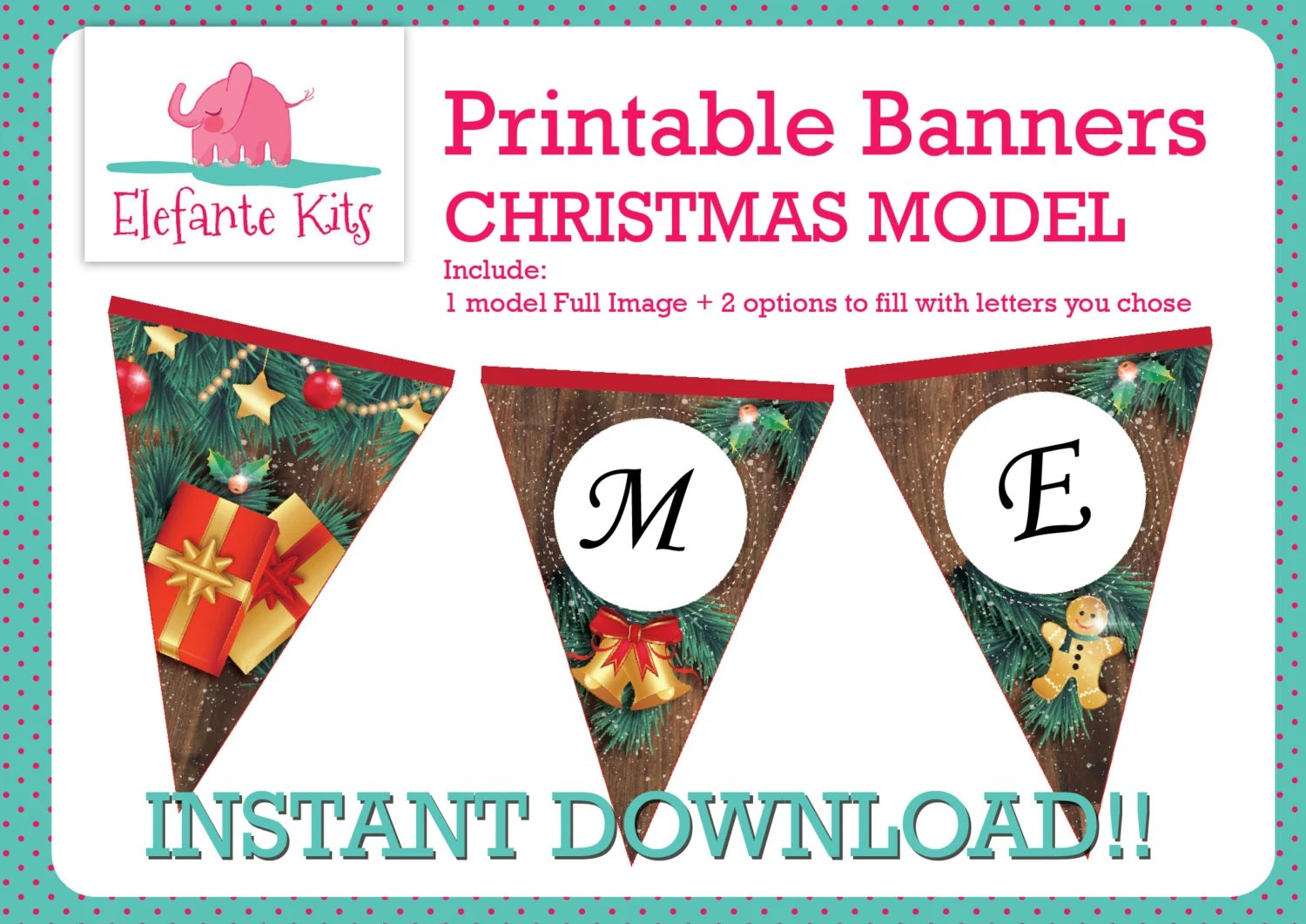 Inside Out Printable party Banner flags 3 TEMPLATES with editable
