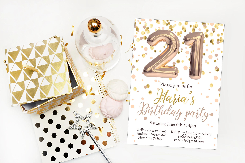 21st Birthday invitation 21st birthday party invite Gold Etsy