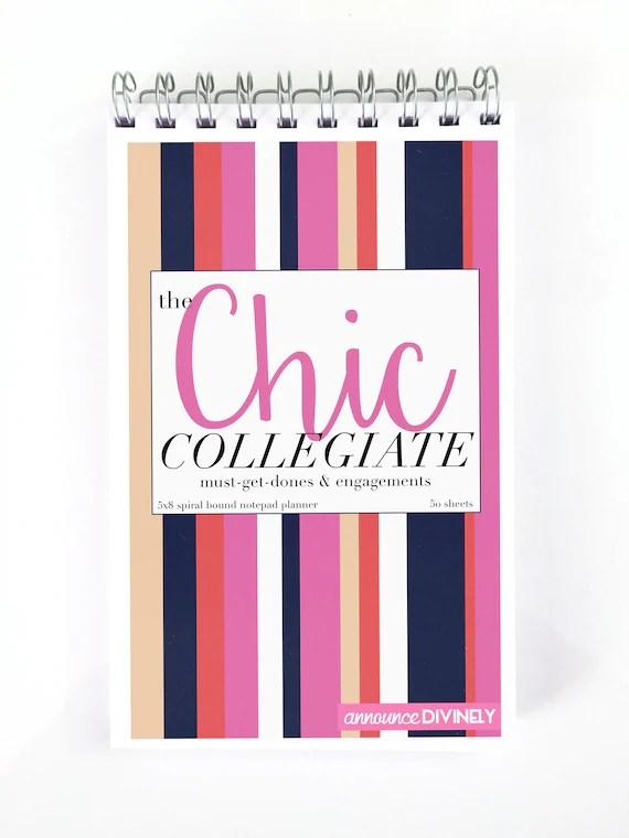 College Student Daily Planner Notebook The Chic Collegiate Etsy