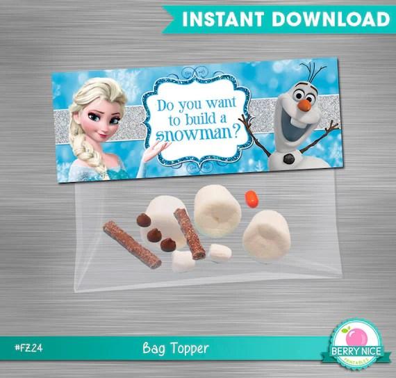 INSTANT DOWNLOAD Frozen bag topper build a snowman, Deconstructed