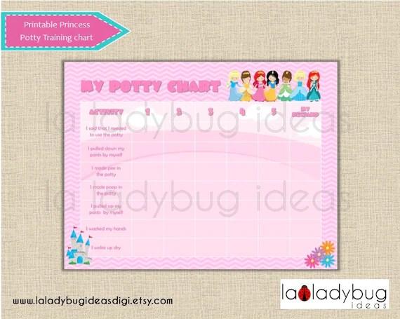 Princess potty training chart Pink printable potty training Etsy
