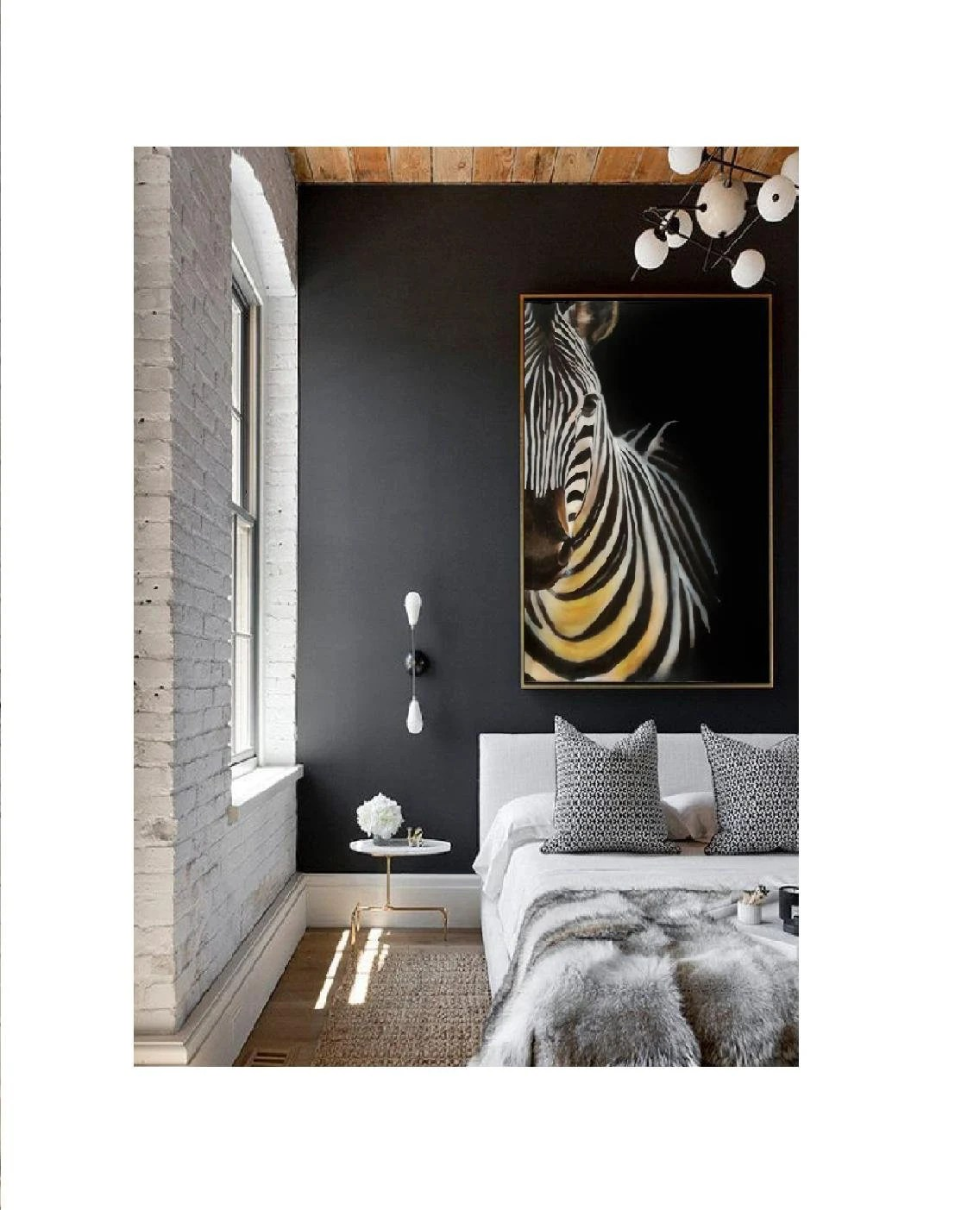 Zebra Bilder Auf Leinwand Animal Painting Acrylic Zebra Wall Art Big Painting Modern Dark Painting Black Painting Scandi Bedroom Modern Side Table Dark Blue Wall