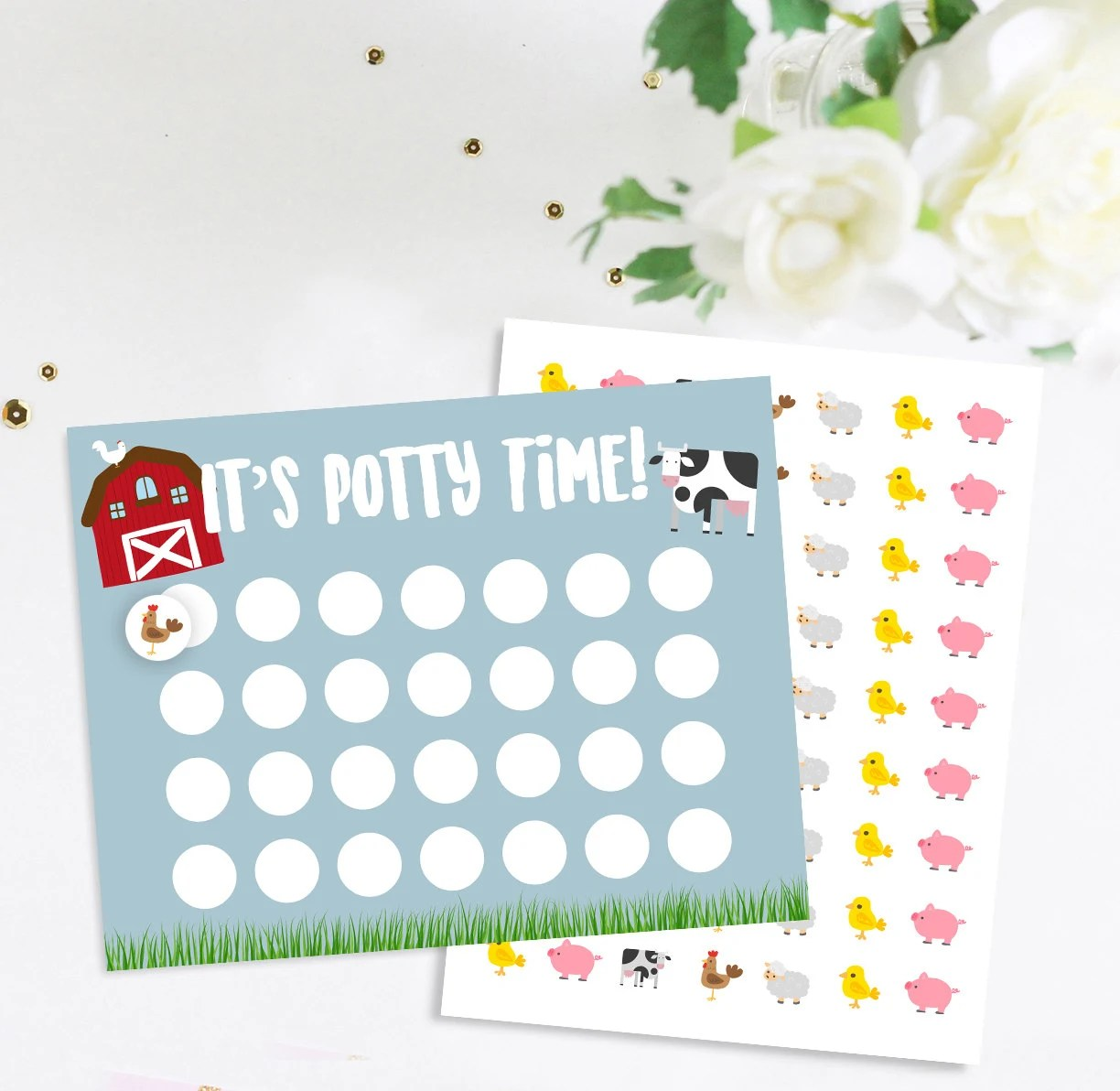 Farm Animals Potty Training Chart with matching stickers Etsy