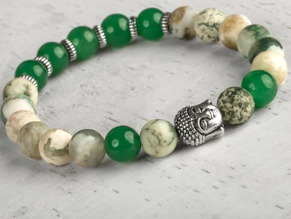 Buddha Bracelet Jade Bracelet Tree Agate Bracelet Charm Etsy