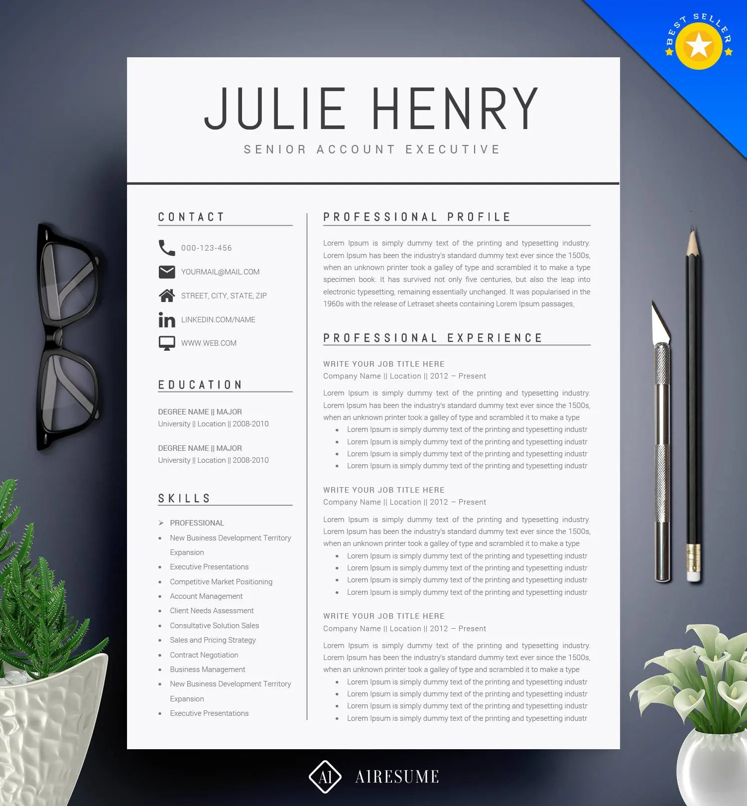 Modern Resume Template / CV Template Cover Letter Etsy - Modern Resume Templates