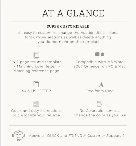 Resume Template / CV Template Cover Letter Instant Digital Etsy