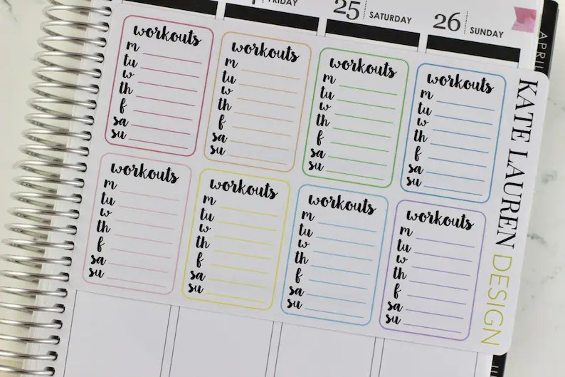 Work out Planner Stickers Work out Stickers Gym Planner Etsy