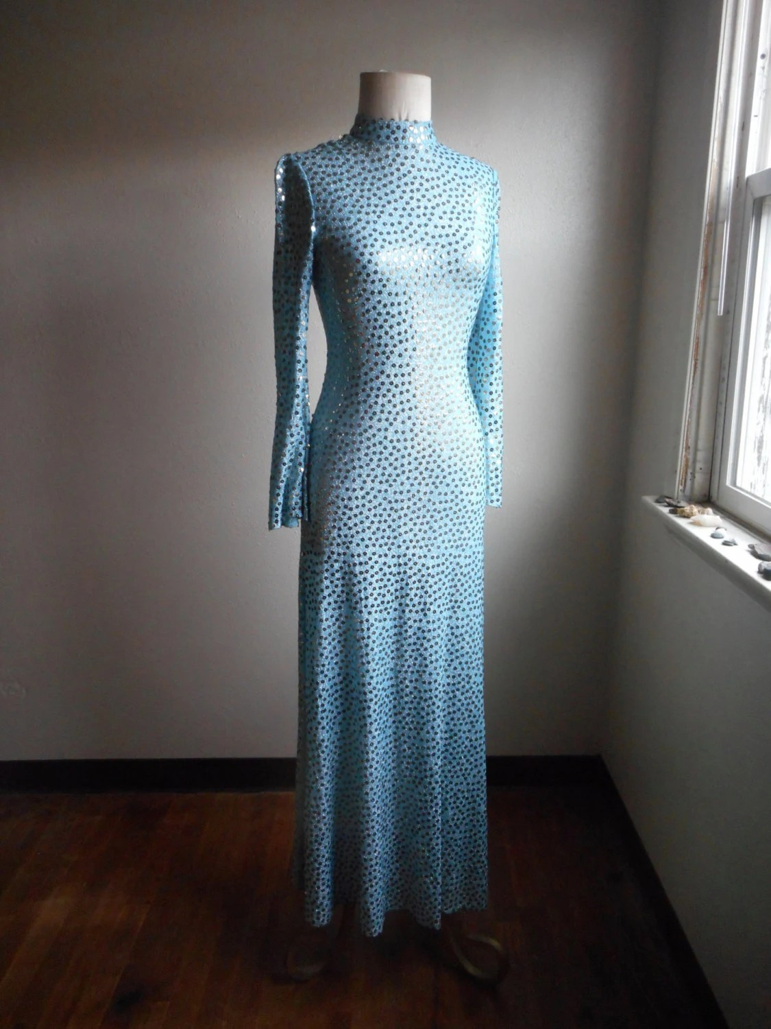 Boutique Made Paris Vintage 70s Mollie Paris Boutique New York Bullocks Sequined Metallic Silver Polka Dot Blue Bell Sleeve Maxi Body Con Dress