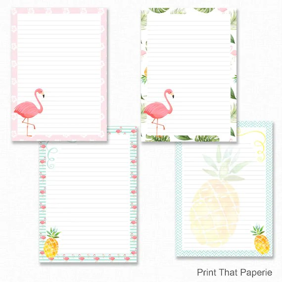Flamingo Printable Writing Paper - Stationary Paper - Letter Writing