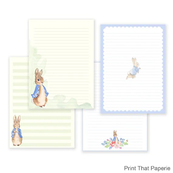 Peter Rabbit Printable Writing Paper - Stationary Paper - Letter
