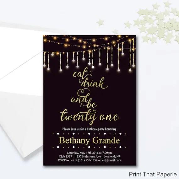 21st Birthday Invitation - Fairy Lights Invitation - Milestone