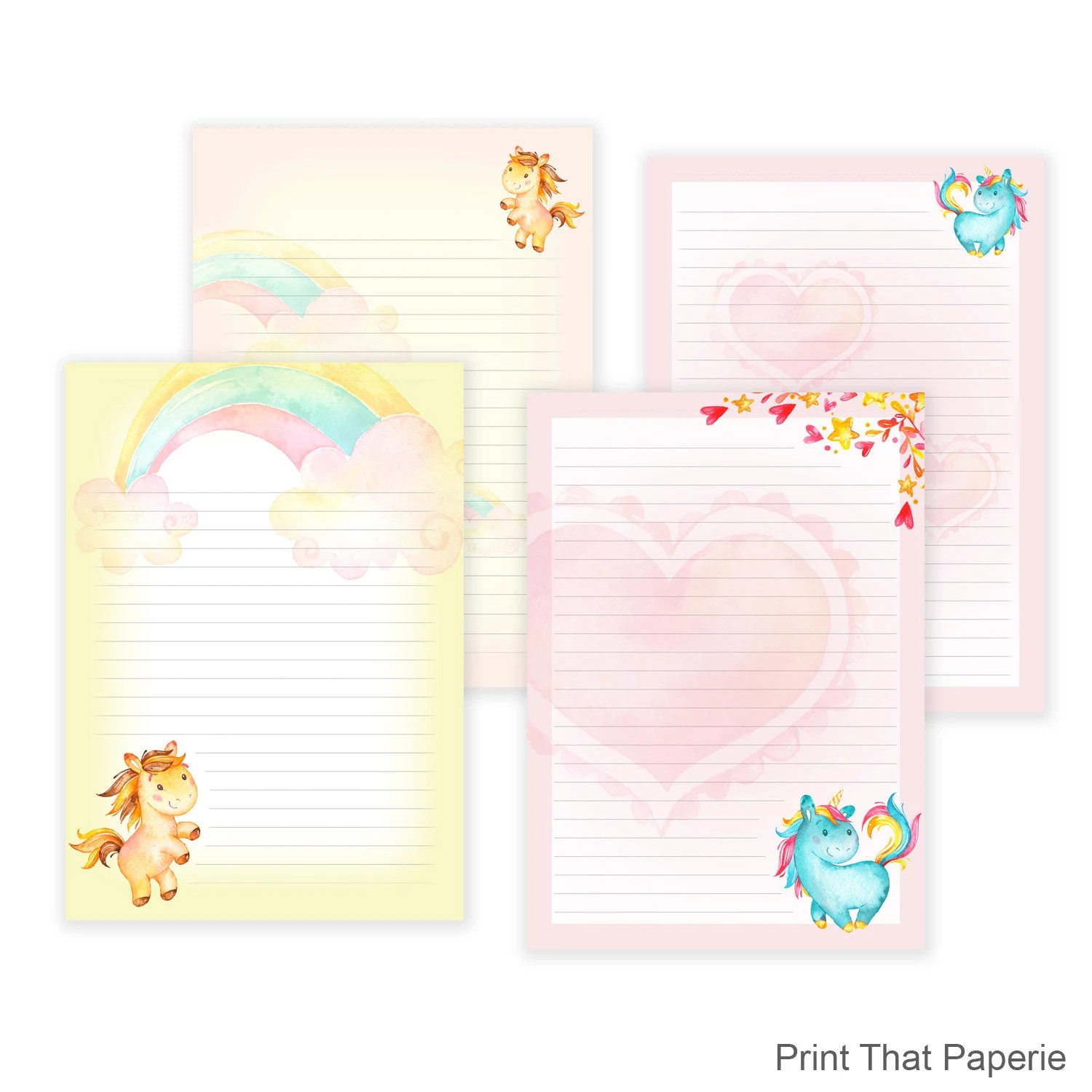 Unicorn Printable Writing Paper Stationary Paper Letter Etsy