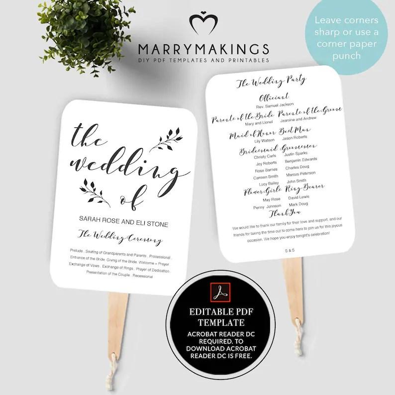Wedding Program Template Printable Program Wedding Fan Etsy