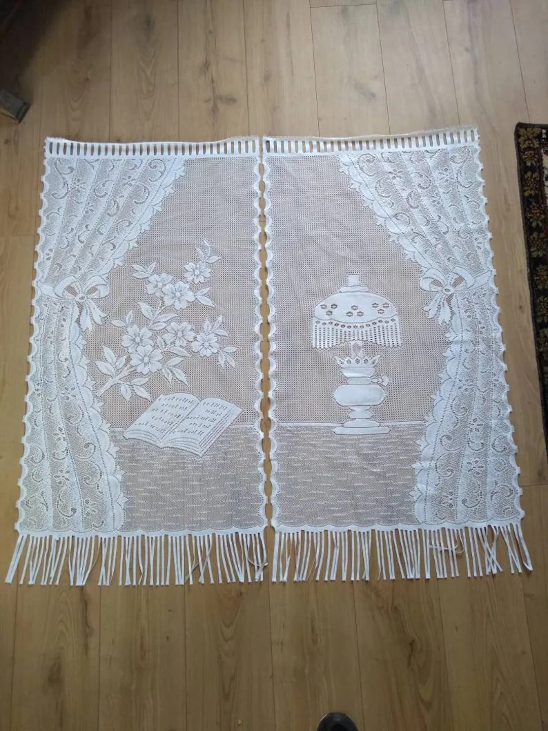 French Lace Curtains Pair Lace Curtains Panels French Vintage Panels Lamp Book Bible Pattern