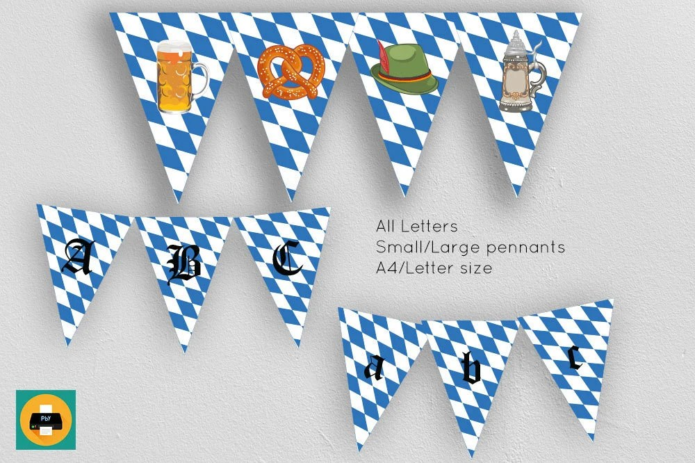 Oktoberfest party decor banner Biergarten garland Printable Etsy