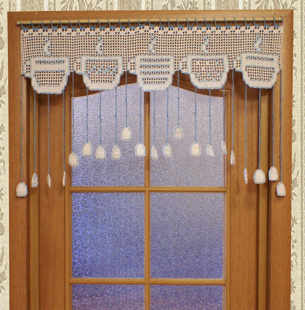 Kitchen Door Curtains White Kitchen Crochet Door Curtain With Tea Cup