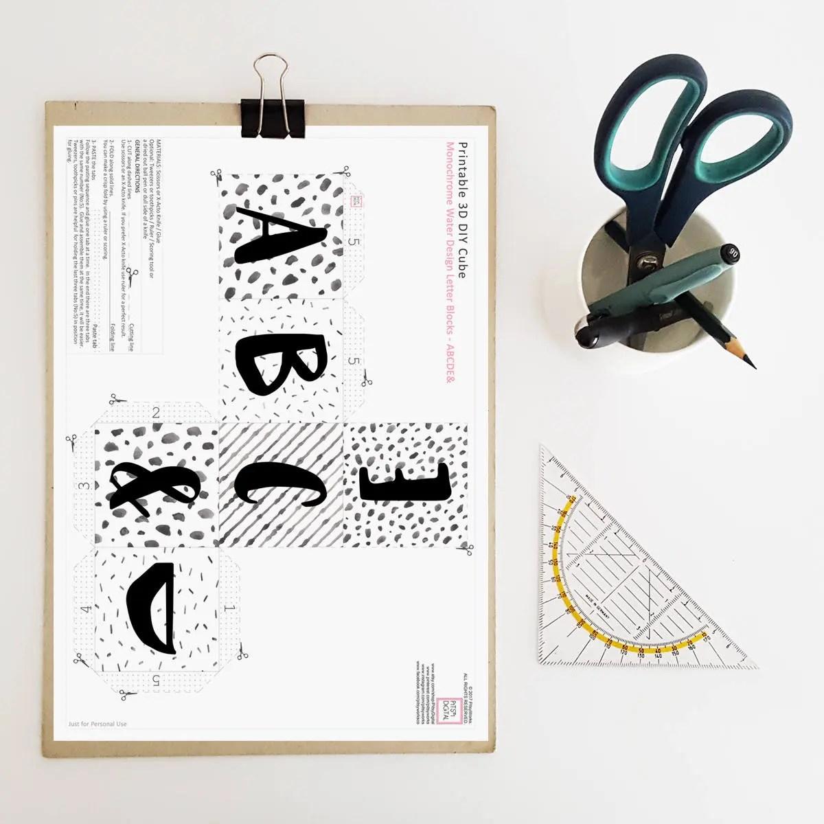 Baby Letter Blocks Alphabet Blocks 3D Digital Paper 3D Etsy