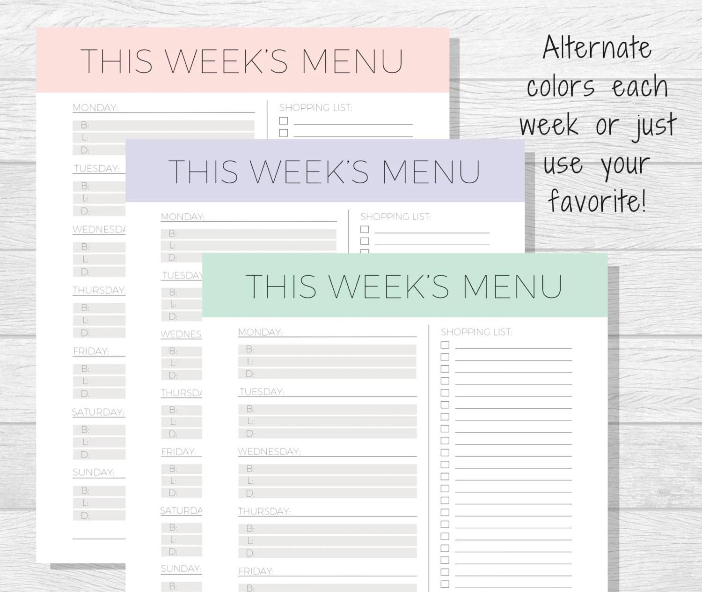 Weekly Meal Planner Printable Meal Tracker Menu Planner Etsy