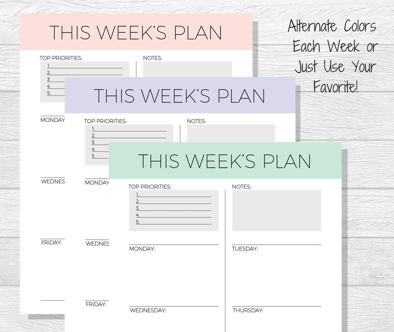 Weekly Planner Printable 2018 Planner pdf Printable Etsy