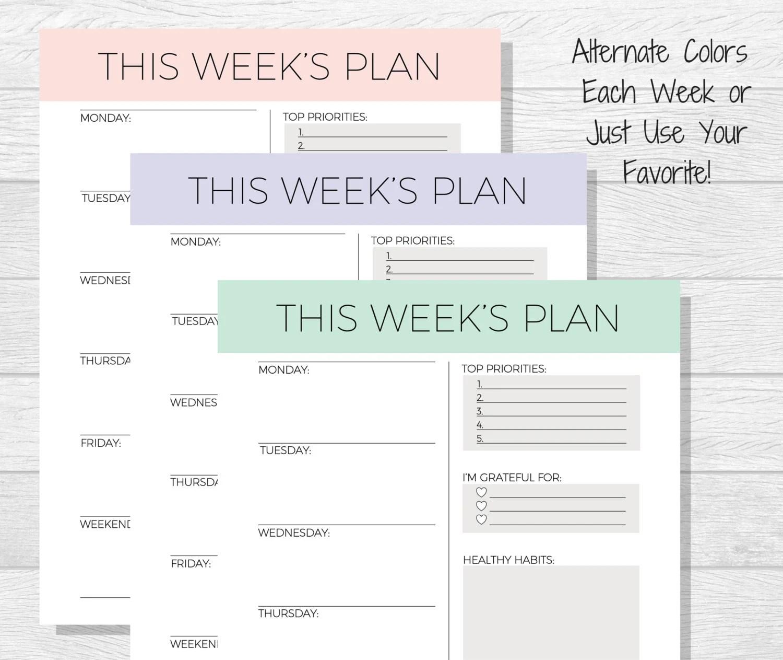 Weekly Planner Printable Weekly Schedule Weekly Organizer Etsy