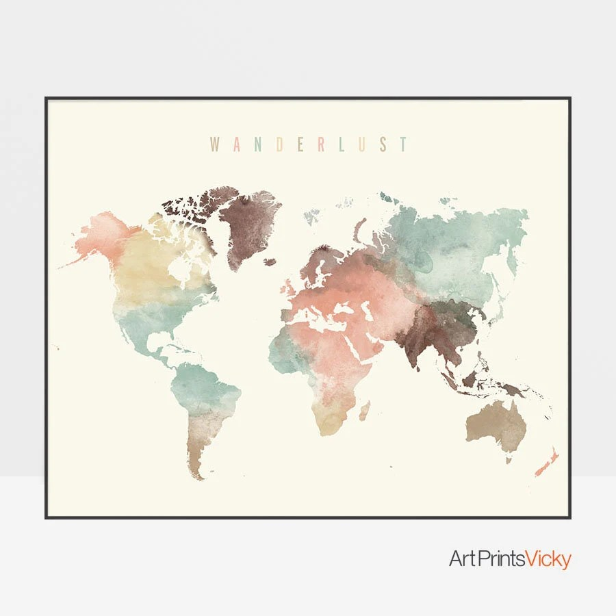 World map World map poster Wanderlust World map wall art Etsy