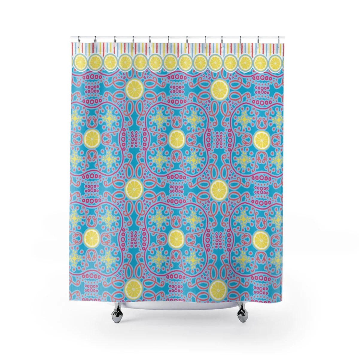 Lemon Green Curtains Lemon Swirl Aqua Shower Curtains