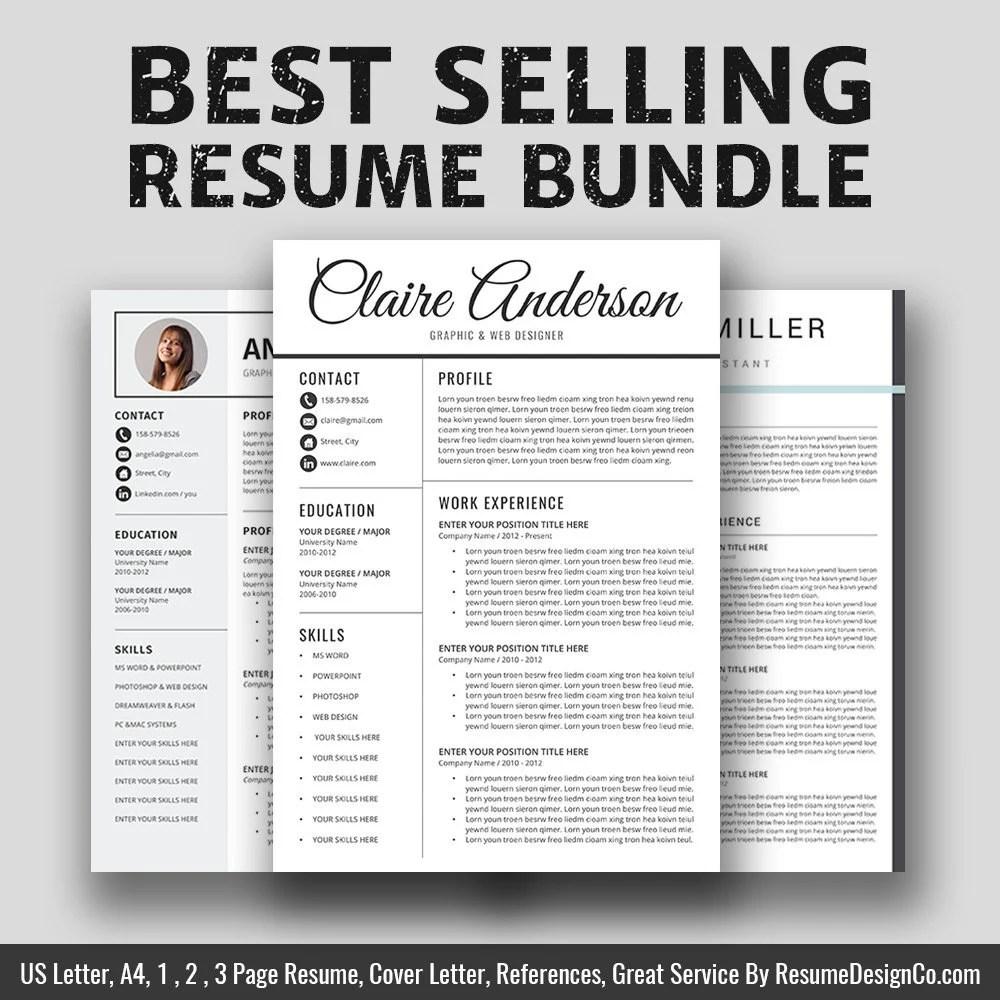 2019 Resume / CV Templates Bundle Cover Letter Graduate Etsy