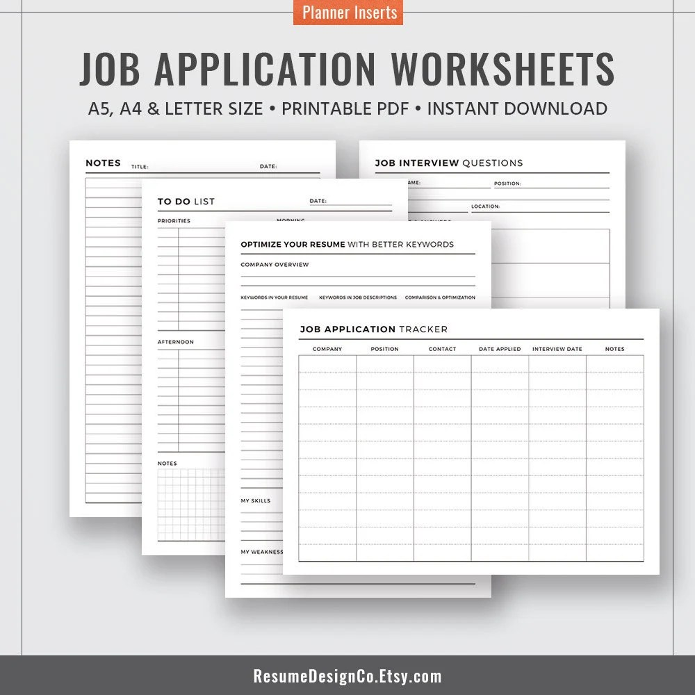 2019 Job Application Tracker Job Interview Questions Planner Etsy