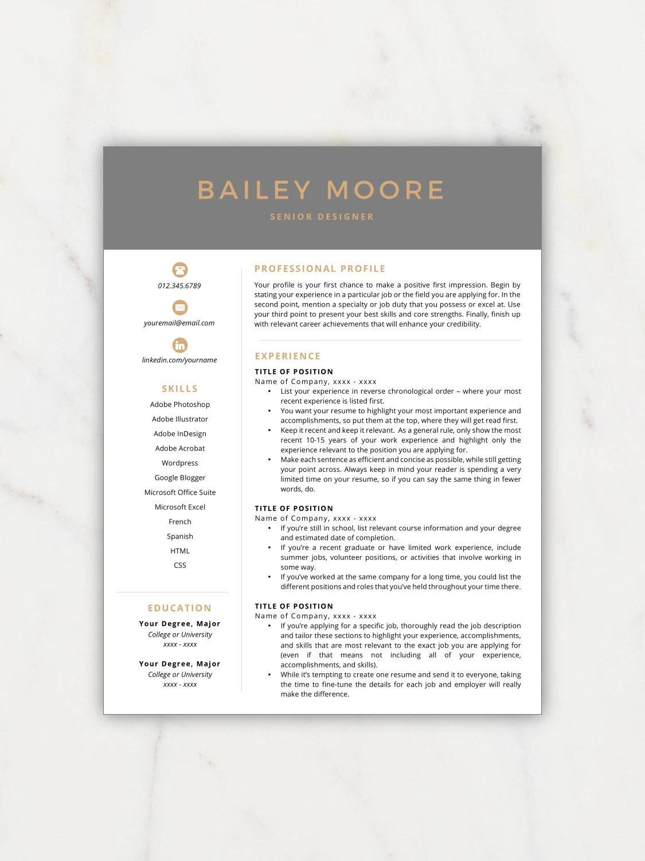 Resume Template Modern Resume Resume Template Instant Etsy