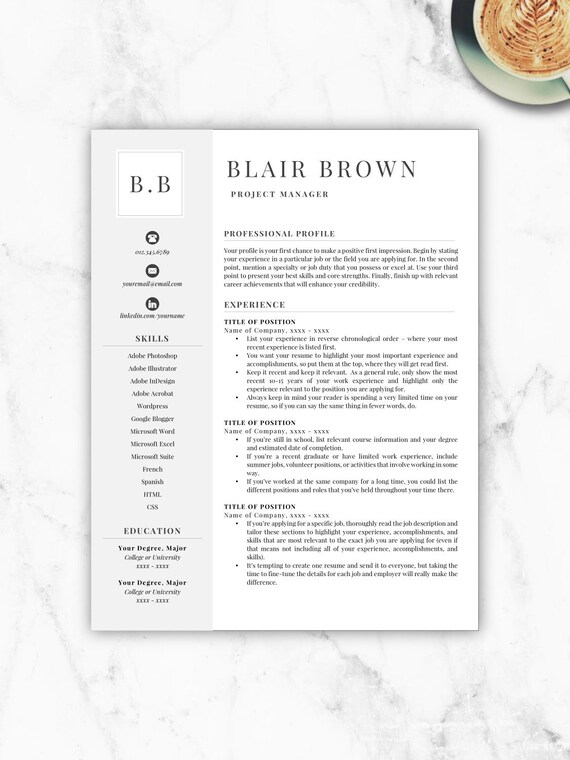 Professional Resume Template Free Resume Template Resume Etsy