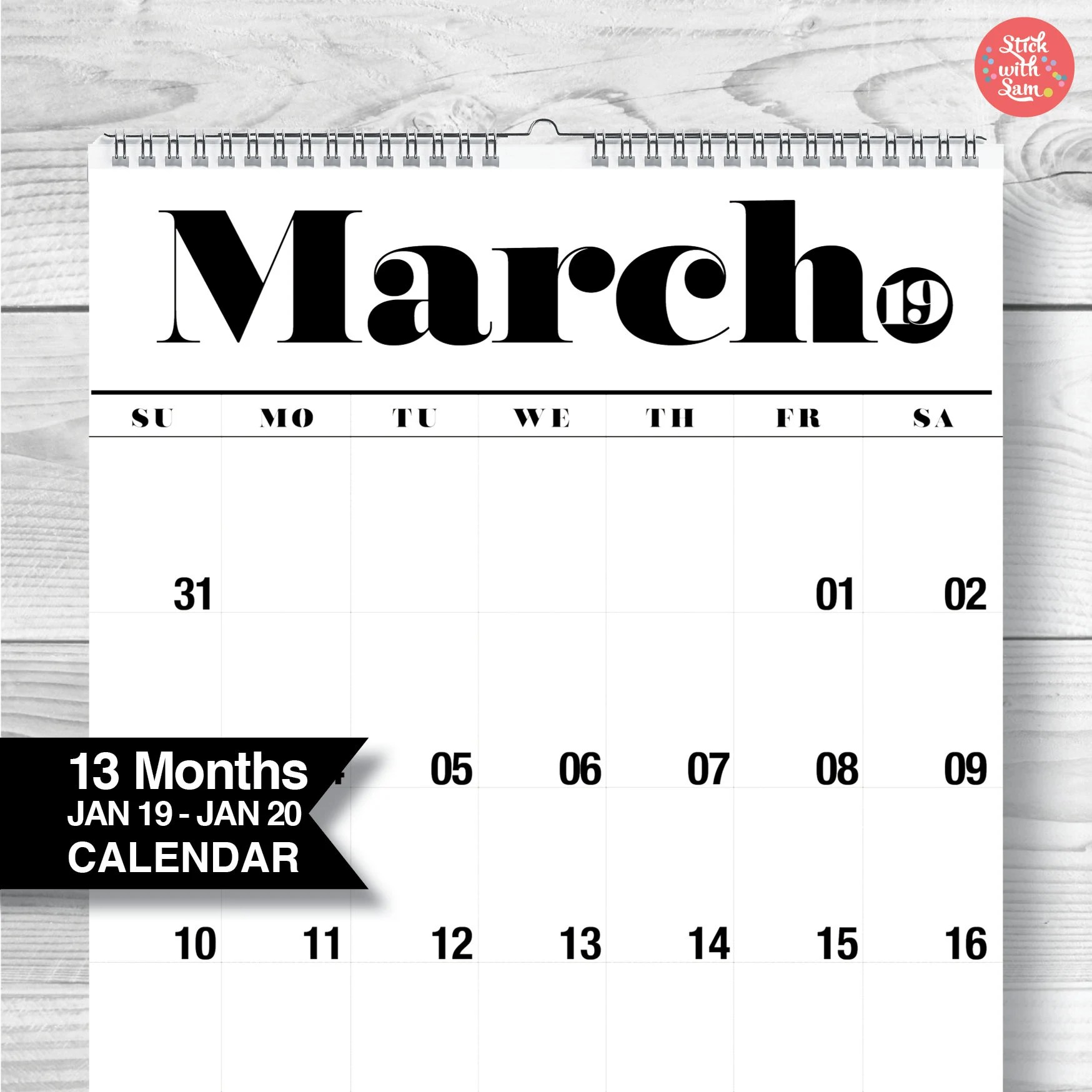 Wall Calendar 2019 / 2020 Large A3 Yearly Wall Calendar 13 Etsy