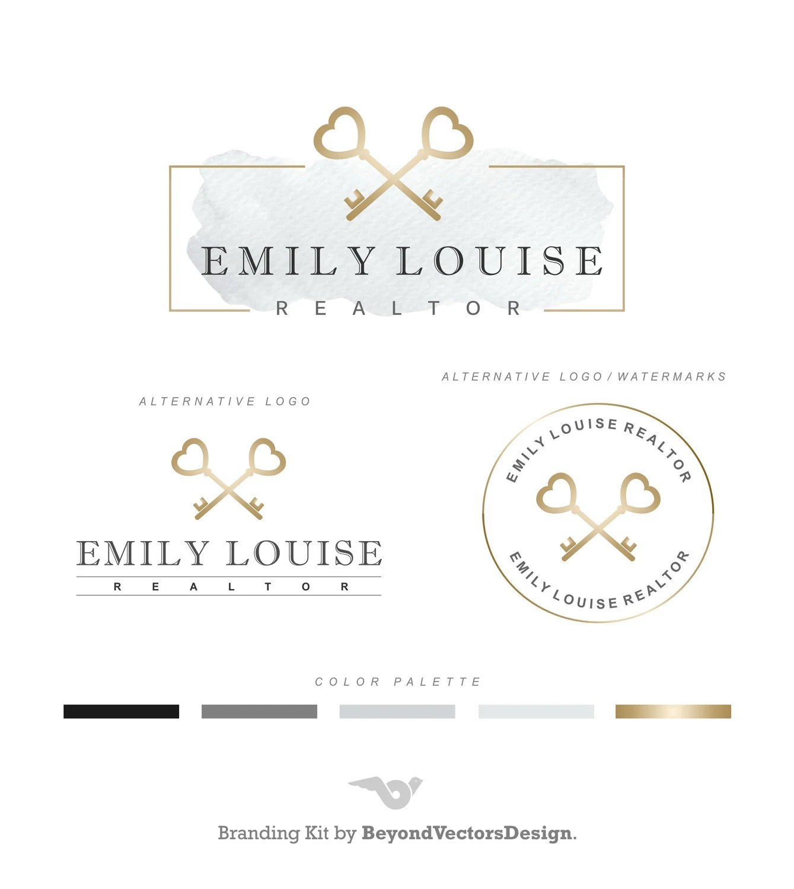 Realtor logo Key logo Real Estate logo design Branding set Etsy