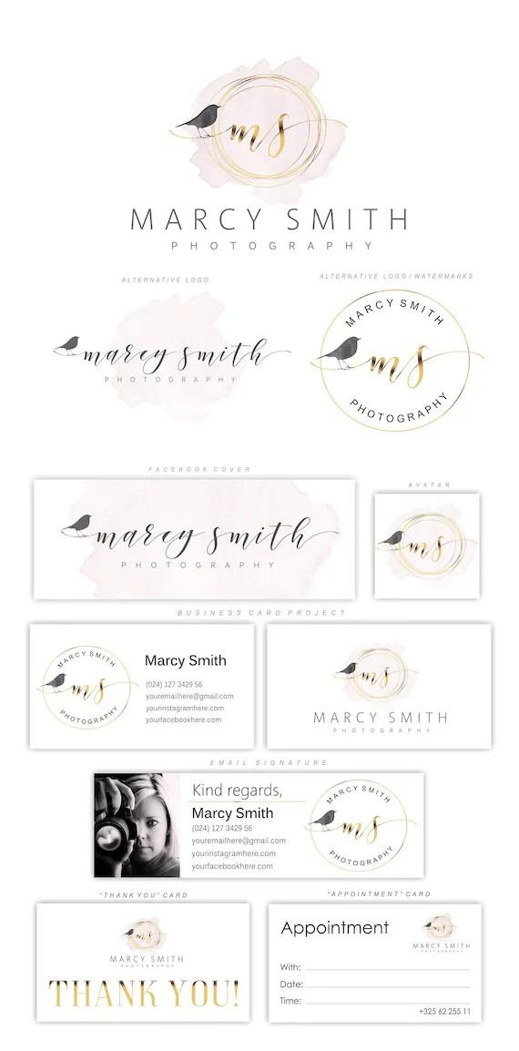 Bird Logo Nest Logo Photography Logo Set Sparrow Logo Etsy