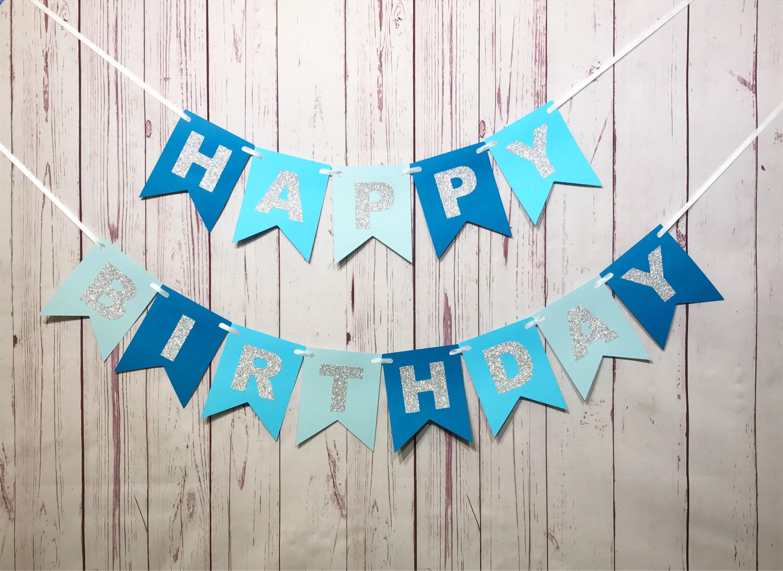 Blue Birthday Banner 1st Birthday Banner Boy Birthday 1st Etsy