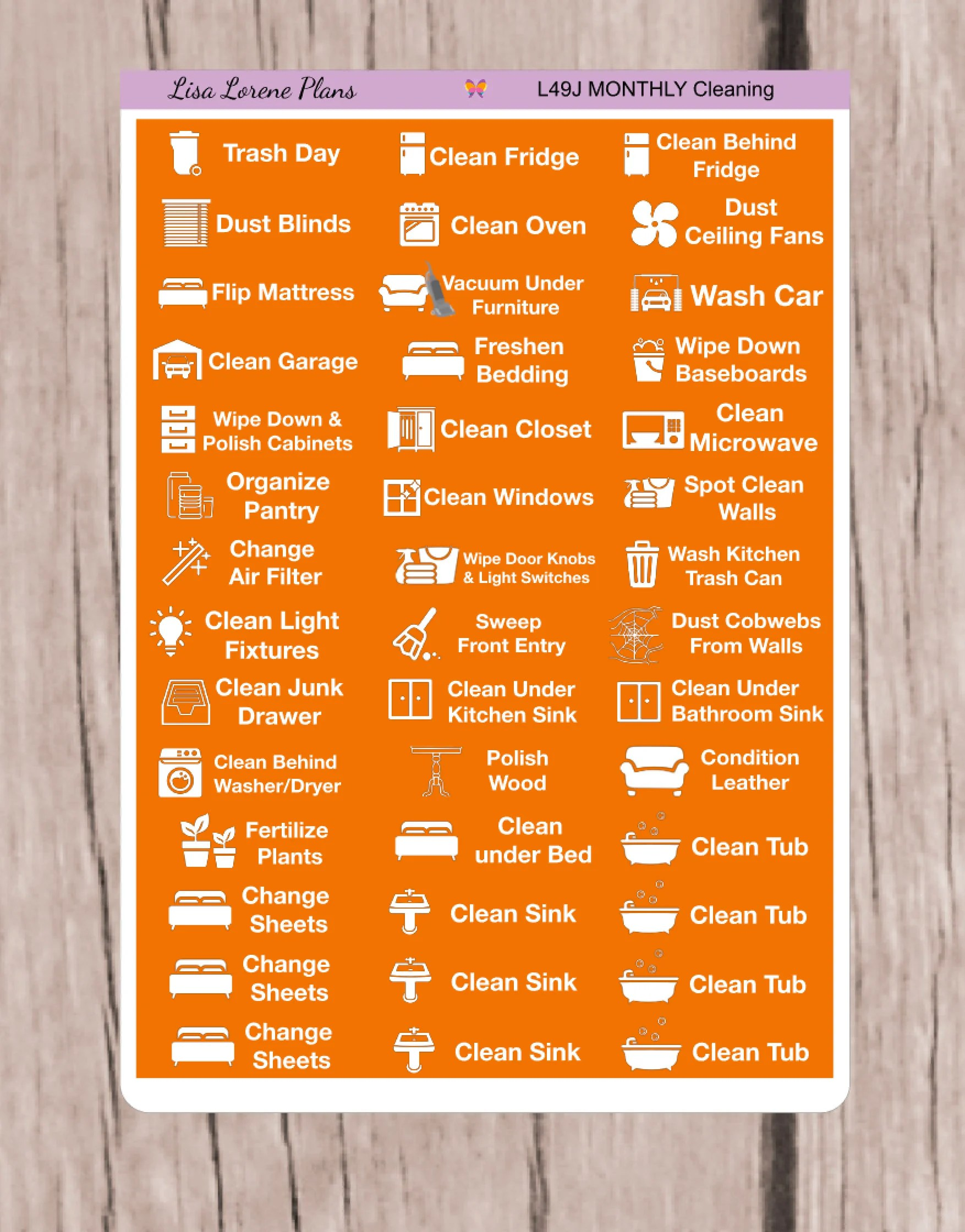 October Monthly Cleaning Housework Chores Schedule Planner Etsy