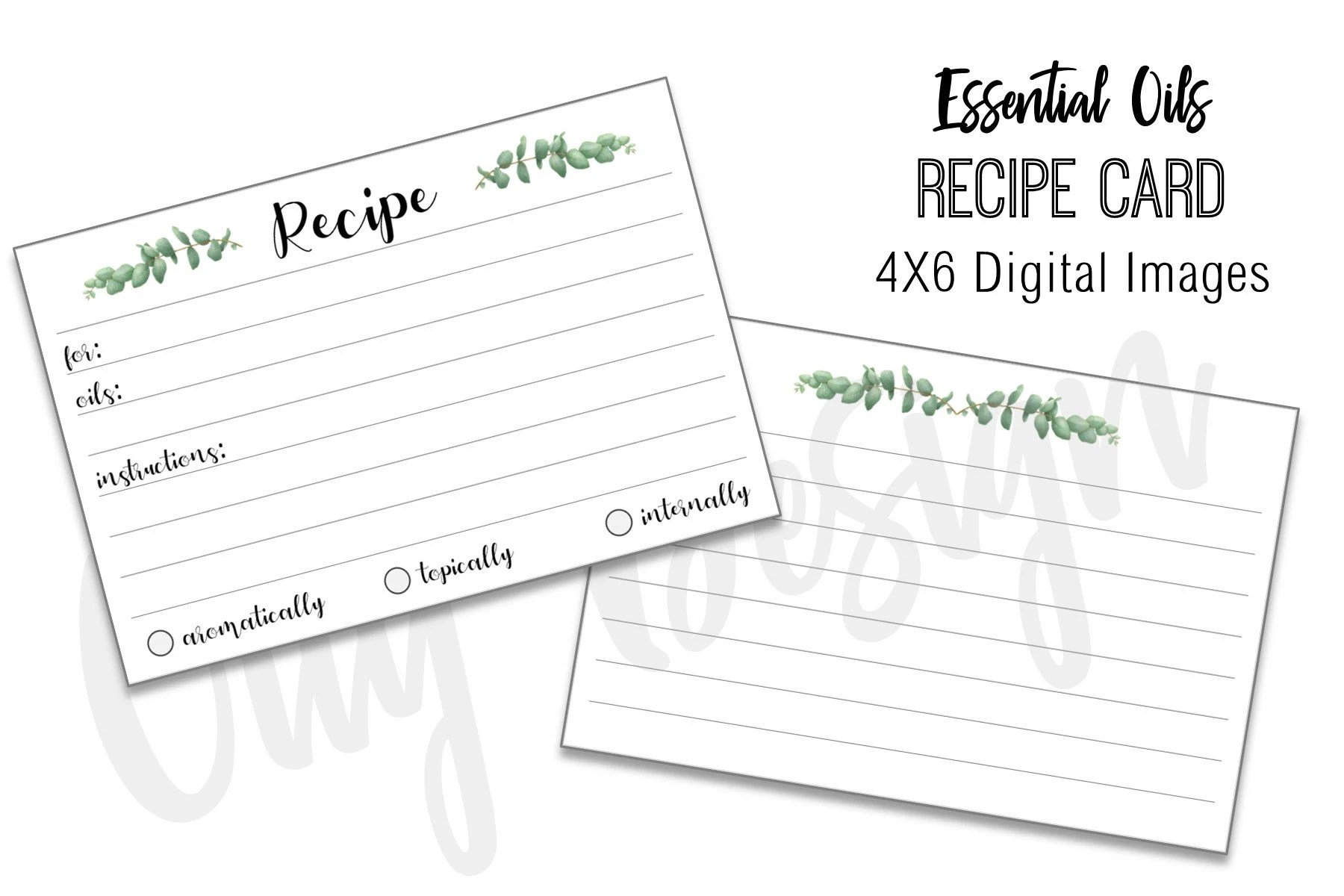 Essential Oil Recipe Card 4x6 Format Digital Download Etsy