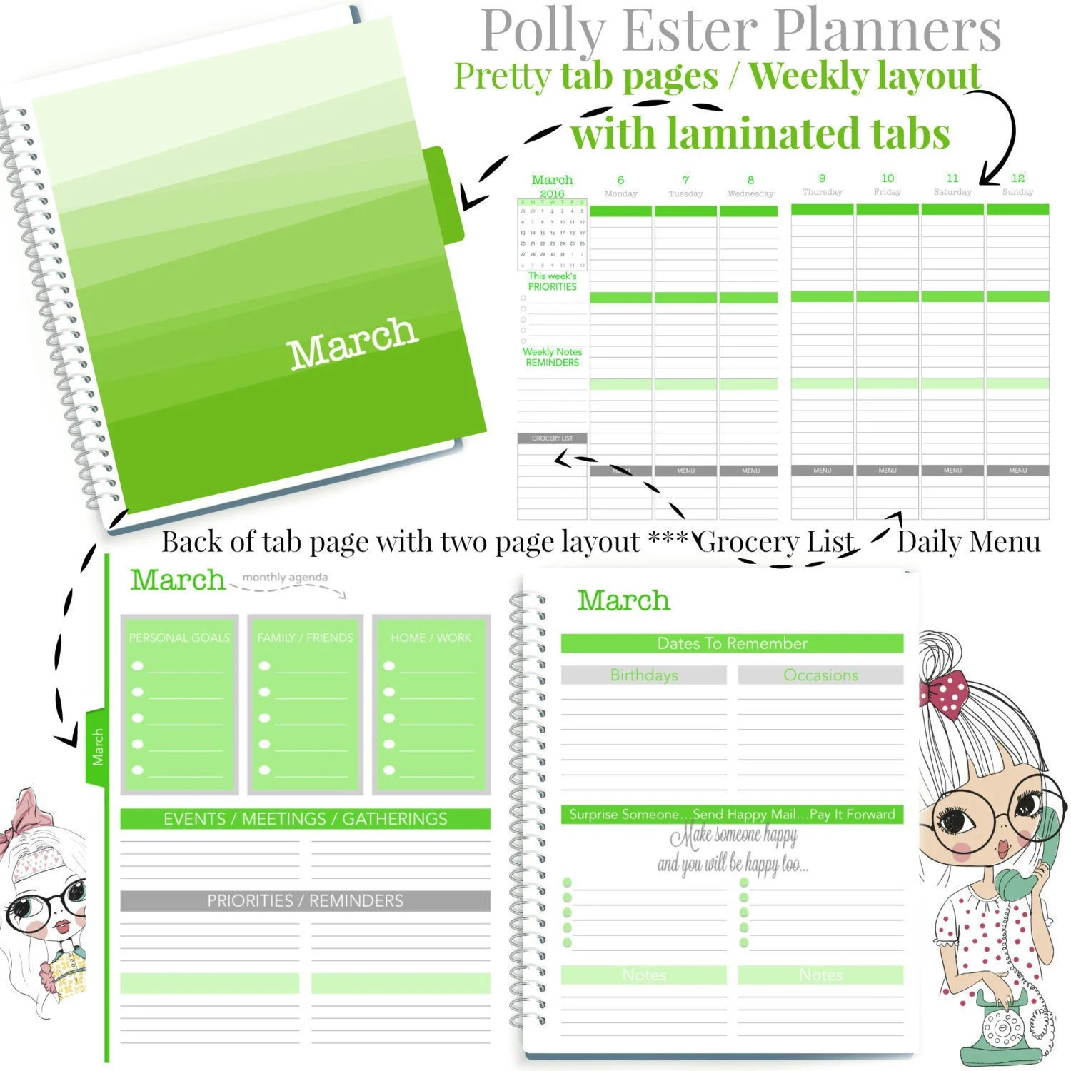 2018 Planner Business Girl Planner Daily Weekly Planner Etsy