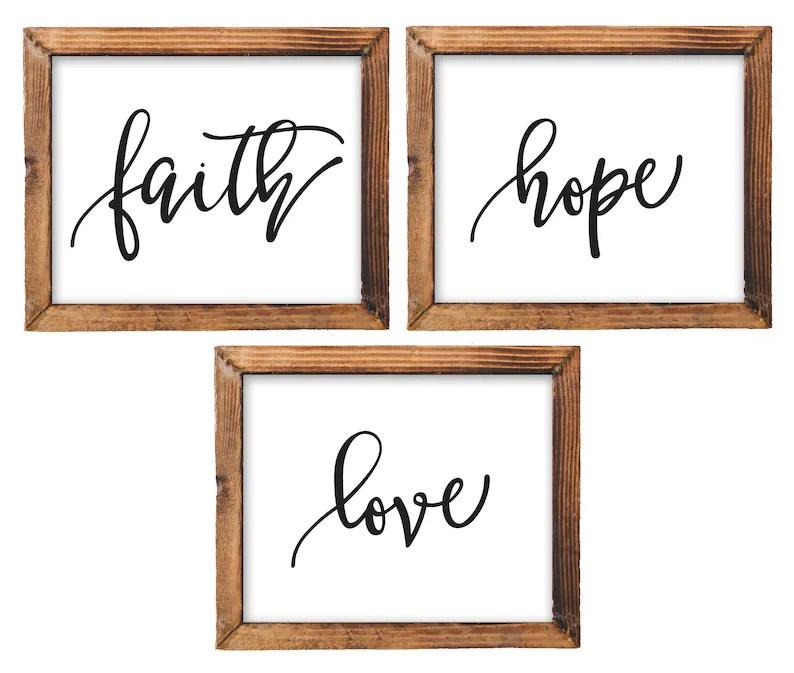 Printable Wall Art Faith Hope Love printable Bible Nursery Etsy