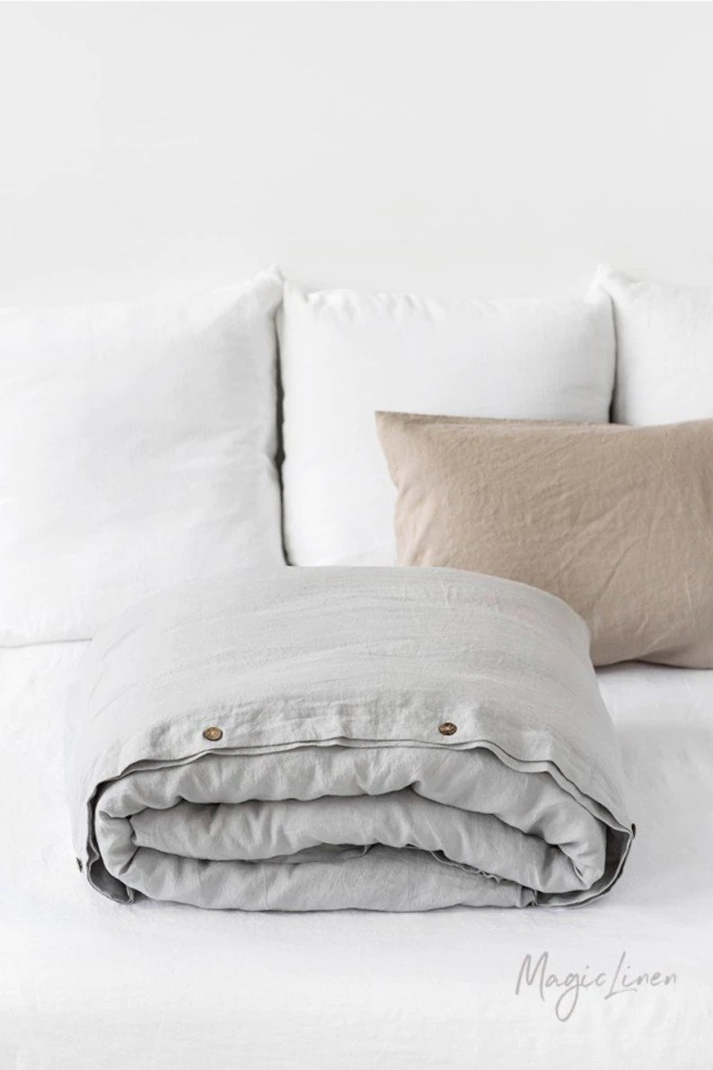 Bed Linen Linen Duvet Cover In Light Gray Washed Custom Size Bed Linens