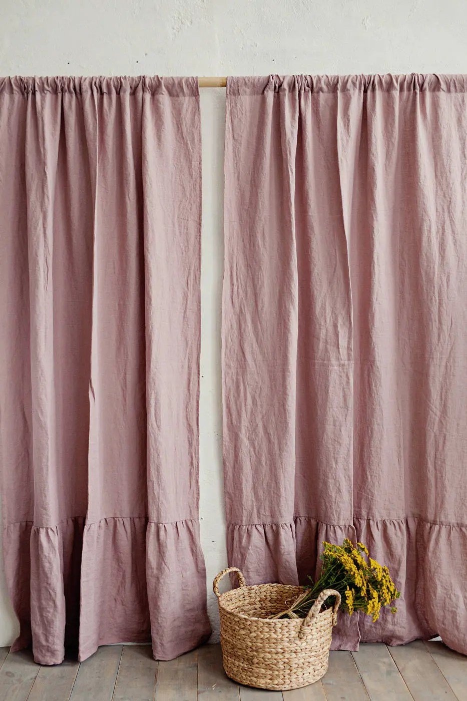 Ruffle Curtain Panel Rod Pocket Linen Curtain Panel With Ruffles Washed Linen Ruffled Curtain Drapes