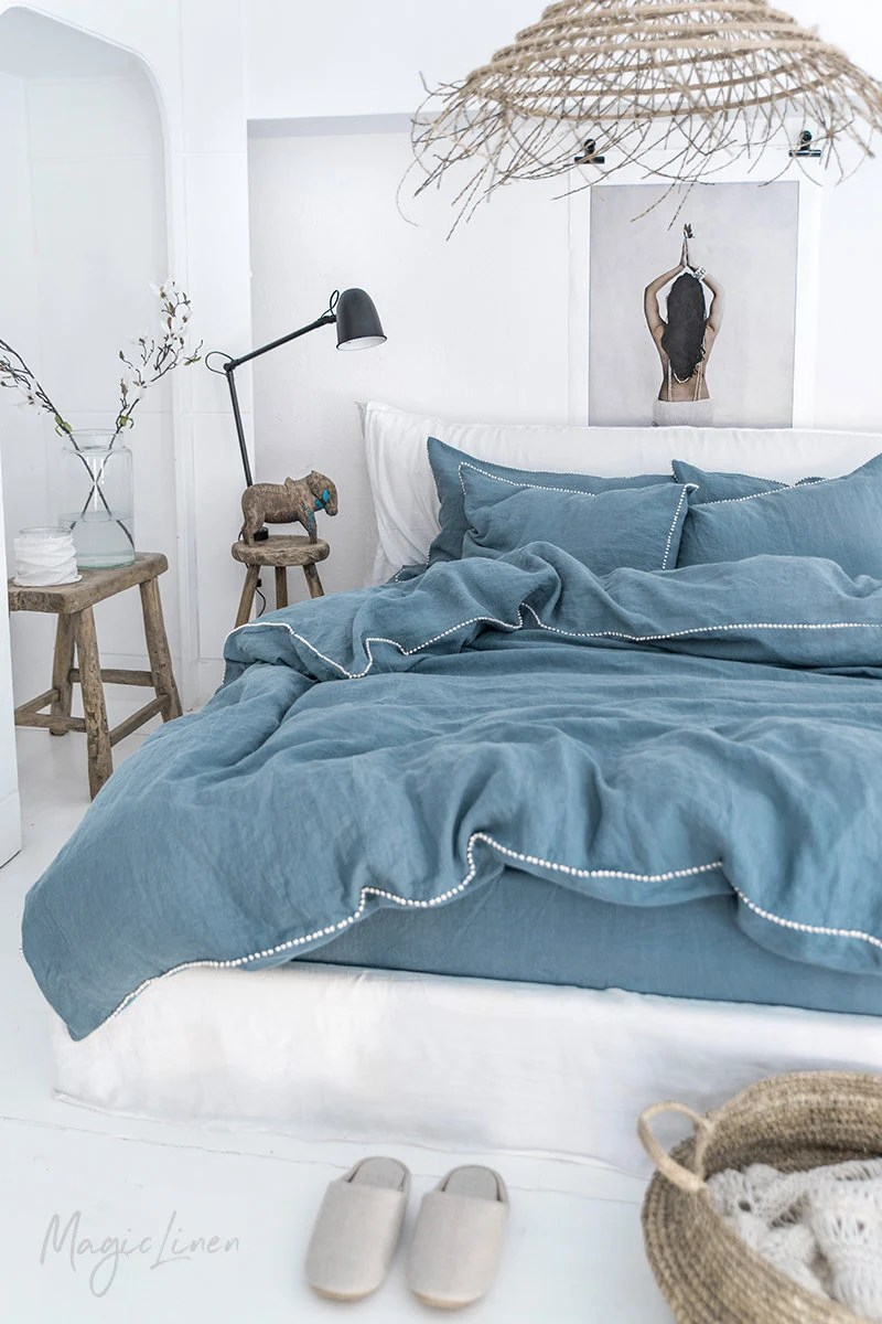 Quilt Cover King Linen Duvet Cover With Pom Pom Trim Washed Linen Bedding King Queen Custom Sizes