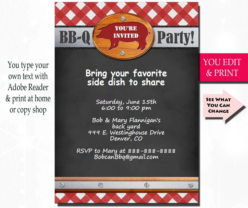 BBQ Invitation BBQ Party Invitation Barbecue Invitation Etsy