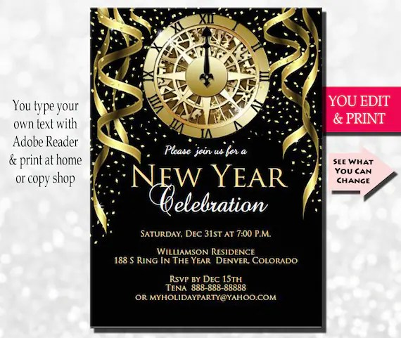 New Years Invitation, New Years Party Invitation, New Years Eve
