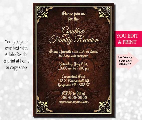 Family Reunion Invitation, Family Party Invitation, Family Tree