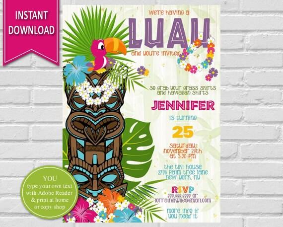 Luau Birthday Invitation Luau Party, Hawaiian Party, Hawaiian