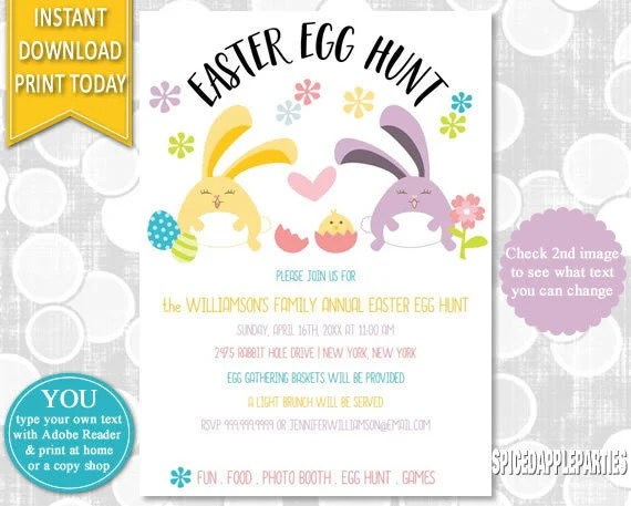 Easter Egg Hunt Easter Bunny Egg Hunt Invitation, Easter