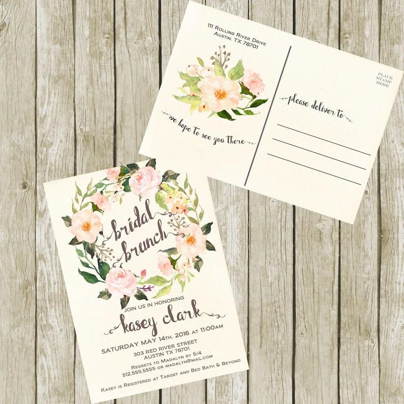 Bridal Shower Brunch Postcard Invitation Printable Floral Etsy